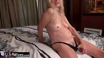 plays cum granny with Slutty blonde fucks her pussy with a fat dildo