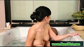 asian dance busty Wife plays with black dildo