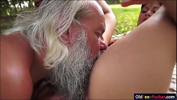 rubbing cock grandpa Cum drooling out of mouth