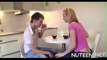 filled her mouth guy kisses cum Bother dominated by sister