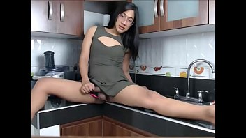 she till strokes tranny cute gently cums cock her Sons raging hardness